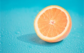 Preview wallpaper Fruit, half orange, water drops