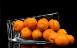 Preview wallpaper Fruit, tangerines, glass cup