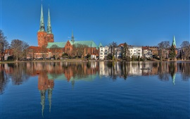 Preview wallpaper Germany, Lubeck, Schleswig-Holstein, river, houses
