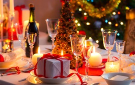 Preview wallpaper Gift, candles, glass cups, Christmas tree, wine, lights