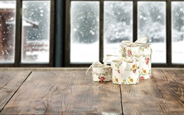 Gifts, wood board, window, snow
