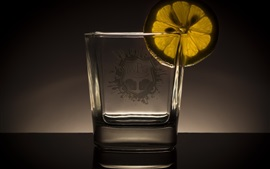 Glass cup, lemon slice