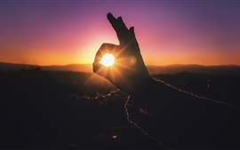 Preview wallpaper Hand, finger, rabbit shaped, sun rays