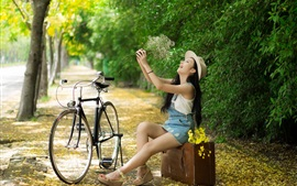 Happy Asian girl, bike, hat, summer