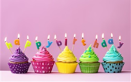 Preview wallpaper Happy Birthday cakes, colorful cupcakes, candles, fire
