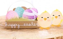 Preview wallpaper Happy Easter, eggs, bird, art