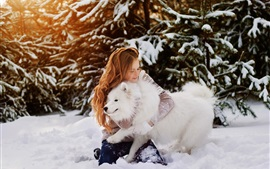 Preview wallpaper Happy girl and white dog in the snow, winter