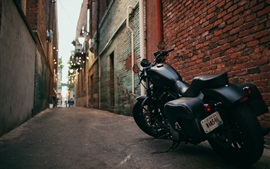 Preview wallpaper Harley Davidson black motorcycle back view, path