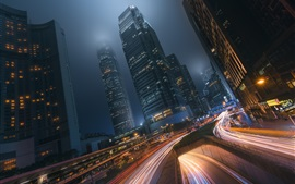 Hong Kong, city night, road, light lines, movement, skyscrapers, lights