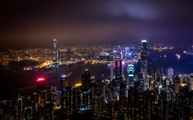 Preview wallpaper Hong Kong, city night view, skyscrapers, lights, sea