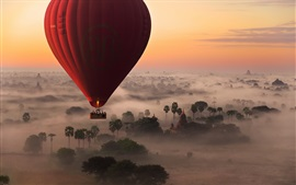 Hot air balloon flight, trees, fog, morning