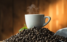 Preview wallpaper Hot coffee, steam, coffee beans