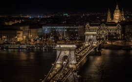 Hungary, Budapest, Chain bridge, night, city, river, illumination