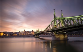 Hungary, Budapest, city night, bridge, river, illumination