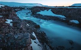 Iceland, Godafoss, waterfall, rocks, snow, creek