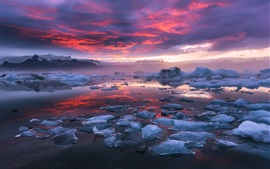 Preview wallpaper Iceland, fjord, glacier lagoon, ice, clouds, sunset