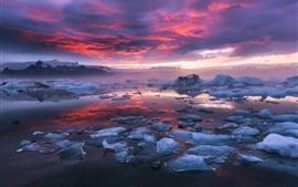 Исландия, фьорд, ледниковая лагуна, лед, облака, закат