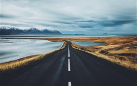 Preview wallpaper Iceland, road, mountains, lake, fjords