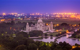 India, Victoria Memorial, Kolkata, Bengala Occidental, noche, ciudad, luces