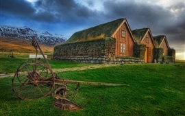 Preview wallpaper Ireland, Icelandic, houses, grass, HDR style