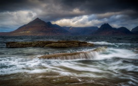 Preview wallpaper Isle of Skye, Elgol, Scotland, mountains, clouds, sea, water