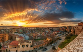 Preview wallpaper Italy, Cagliari, city, sea, coast, street, sun rays, clouds, dawn