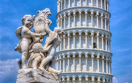 Preview wallpaper Italy, Pisa tower, statue, blue sky