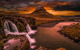 Kirkjufell, Iceland, waterfall, mountain, clouds, sunset