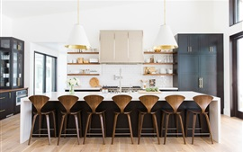 Cozinha, sala de jantar, cadeiras, mesa