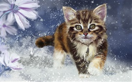 Preview wallpaper Kitten in the snow, watercolors