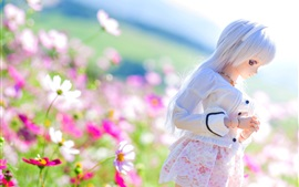 Preview wallpaper Kosmeya flowers and doll girl