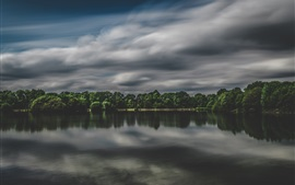 Preview wallpaper Lake, trees, clouds, dusk