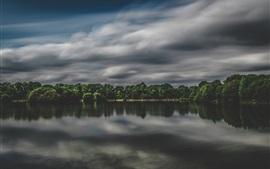 Lake, trees, clouds, dusk