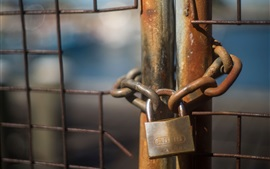 Preview wallpaper Lock, chain, fence, rusty