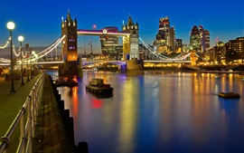 Londres, Tower Bridge, Tamisa, luzes, noite, Inglaterra