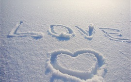 Preview wallpaper Love heart draw on snow
