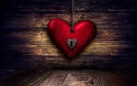 Amor coração, bloqueio, chave, placa de madeira