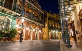 Main Street EE. UU., Disneyland, noche, luces, Anaheim