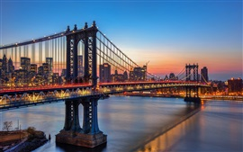 Preview wallpaper Manhattan bridge, New York, river, city, night, lights, USA