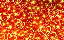 Muitos corações de amor dourado, fundo vermelho
