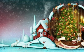 Preview wallpaper Merry Christmas, trees, balls, teddy, rabbit, house, snow, art picture