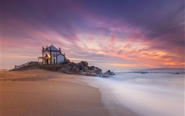 Miramar, Portugal, casa, mar, pôr do sol