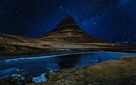 Montanha, rio, estrelado, noite