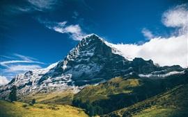 Preview wallpaper Mountains, clouds, blue sky, grass