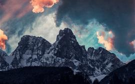 Mountains, clouds, snow, dusk, nature landscape