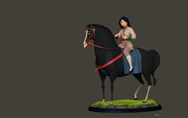 Mulan, niña y caballo, cuadro de arte de la historieta