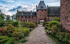 Vorschau des Hintergrundbilder Niederlande, Schloss Doorwerth, Büsche, Blumen, Weg