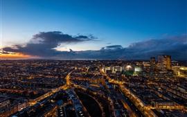Netherlands, Hague, city night, skyscrapers, lights