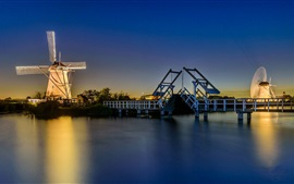 Preview wallpaper Netherlands, lights, windmill, river, bridge, night