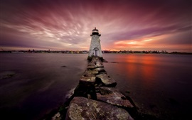 Preview wallpaper New Bedford, lighthouse, sea, night, Massachusetts, USA